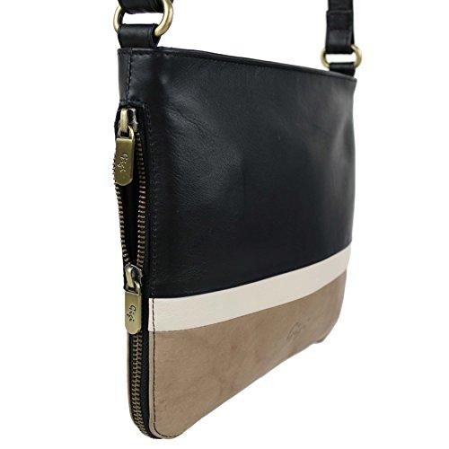 In pelle morbida da donna espandibile two_-Borsa a tracolla, per la borsetta Nero (Black/Ivory/Bone)