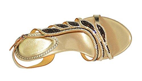 Honeystore Damen's Blatt geformt Strass Handgemacht Keil Absatz Sandalen Gold