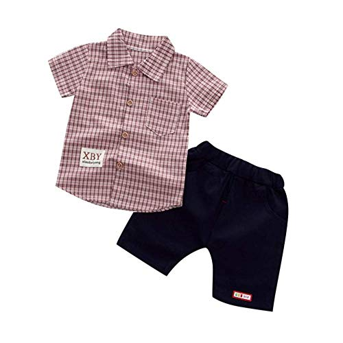 rumiao 1-4Years Kleinkind Baby Boy Gentleman Sommer Plaid Kurzarm Shirt + Denim Shorts Kleidung Outfits,Red-6-12Months Red One-piece-outfit