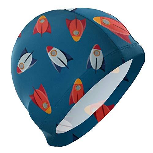 Gebrb Badekappe/Schwimmkappe/Bademütze, Swim Cap Space Rockets Mens Swimming Cap Boy Adult Teen Swimming Hat No-Slip