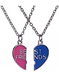Elegante rosa 2 pezzi Best Friends Forever BFF Silver Heart Key Pendant Necklace set amicizia accessori