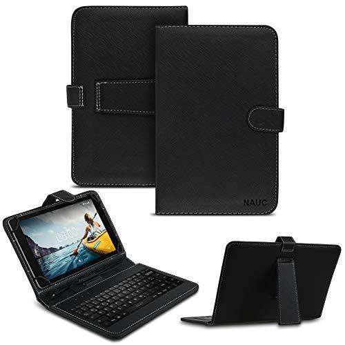 NAUC Keyboard USB Tastatur Ultra für Medion Lifetab P10612 P10610 Tablet QWERTZ Tastatur mit Schutzhülle aus Kunstleder mit Standfunktion und Magnetverschluss