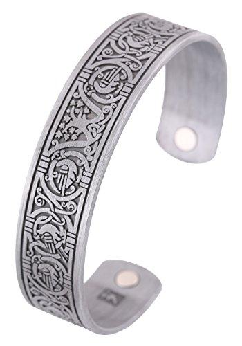 Tree of Life - Pulsera magnética de acero inoxidable para hombre, diseño de corona vikinga