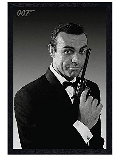 James Bond la Name's Bond... Cadre en bois pour Poster Noir 91,5 x 61 cm