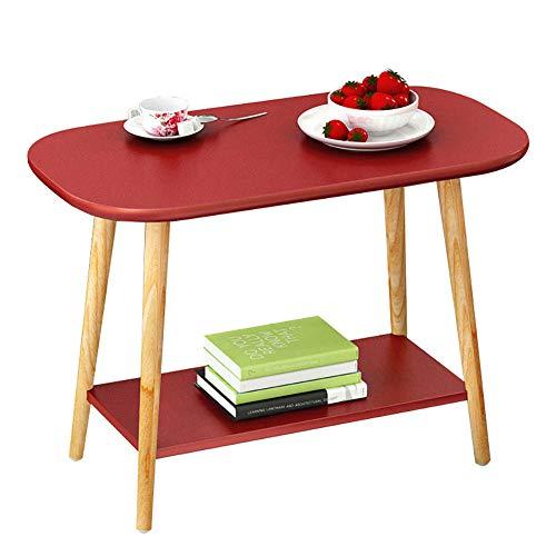 SQIHUI Massivholztisch Wohnzimmer Kleiner Couchtisch Schlafzimmer Nachttisch Zu Hause Unterstützung Ablagetisch,Rot