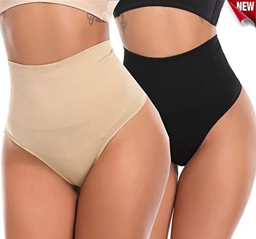 SLIMBELLE Damen Hohe Taille Tanga Shapewear Panty Unterwsche Panties G-strings-2er Pack Nahtlos Unterhose Shaper