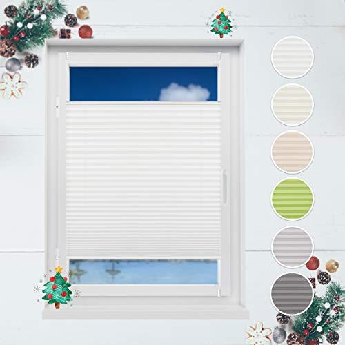 HOMEDEMO Plisseerollo ohne Bohren 75x130 cm Jalousie für Fenster und Tür Sichtschutz und Sonnenschutz Raffrollo für Kinderzimmer Weiss