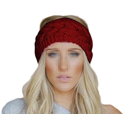 eforstore Twist Wave Woll Strick Frauen Lady Hat Kopfbedeckung Stirnband Crochet Headband Head Wrap Haarband, dunkelrot (Womens Crochet Hats)