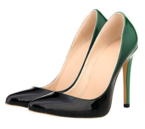 HooH Femmes Gradient Stiletto Pointed Toe Escarpins Pumps Vert