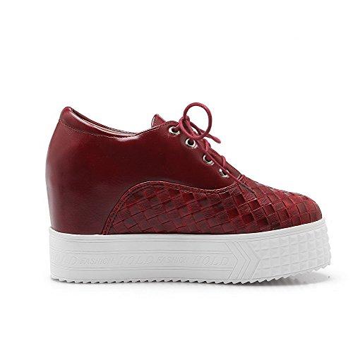AgooLar Femme Lacet à Talon Haut Pu Cuir Couleur Unie Rond Chaussures Légeres Rouge Vineux