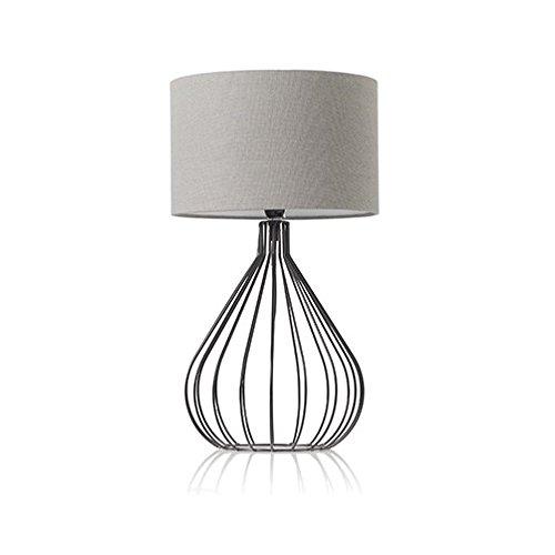 TxT Lampada da tavolo abatjour Nordic Fili ferro nero con cappello cilindrico in stoffa grigio
