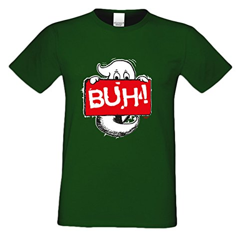 Extrem stylisches gruseliges Halloween-Herren-Fun-T-Shirt als Geschenke-Idee Motiv: Geist Buh! Farbe: dunkelgrün Dunkelgrün