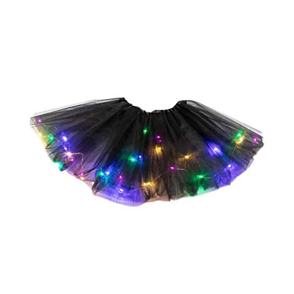 YWLINK Tutú De NiñA De 2-8 AñOs Falda De Malla De Luz LED Falda De Baile Vestido De Princesa Fiesta De Carnaval Disfraz… 4