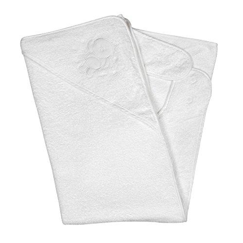 Clevamama Apron Baby Bath Towel with Hood - Splash n' Wrap (Cotton, White)