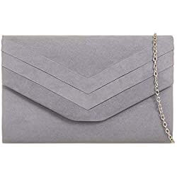 (Grey) - fi9 STYLISH SUEDE ENVELOP STYLE BRIDAL WEDDING EVENING CLUTCH PARTY PURSE HAND BAG