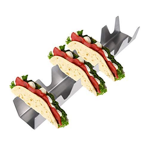 Kare & Kind 2 Stück Edelstahl Taco-Halter - jedes Regal hält bis zu 6 Tacos - Ofen, Grill und spülmaschinenfest - auch für weiche Tacos, Tortilla-Wraps, Burritos und Sandwiches