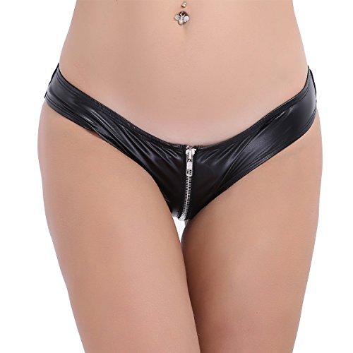 *CHICTRY Damen Tanga Bikinihose String aus Kunstleder und Mesh Bikini Slip Höschen mit Zipper Unterwäsche Unterhose M-3XL*