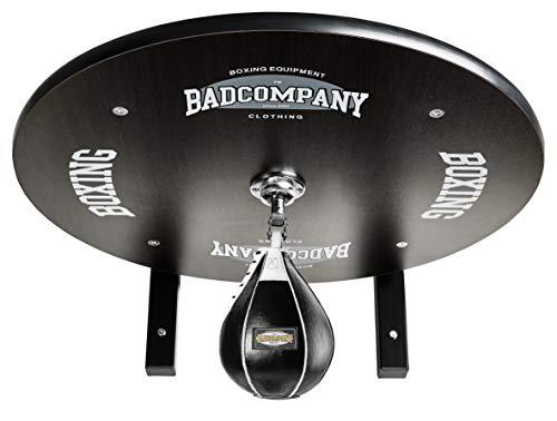 Profi Speedball Plattform Set inkl. Drehkugellagerung schwarz und Leder Boxbirne medium schwarz/Boxapparat für die Wandmontage BCA-39