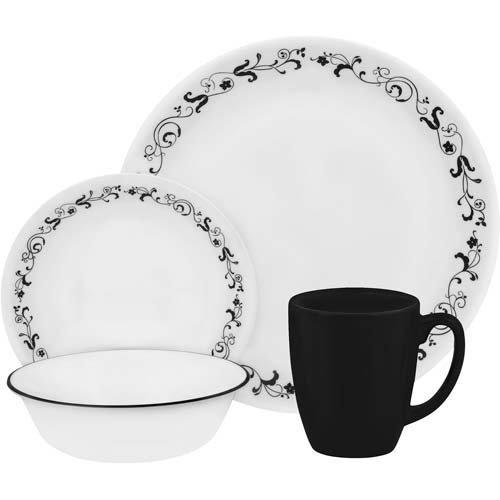 Corelle Geschirr-Set Garden Getaway aus Vitrelle-Glas für 4 Personen 16-teilig, Splitter- und bruchfest, schwarz - Schwarz Geschirr-sets Geschirr