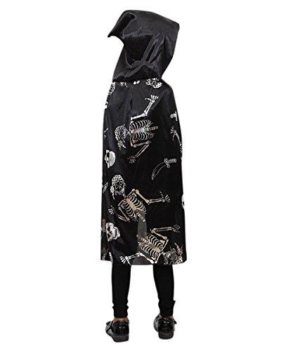 De16 Skelett Piraten Umhang in silber schwarz - für Kinder und Erwachsene! Halloweenkostüm für Halloween Spaß! Einheitsgröße sowohl für Kinder ab Gr. 92 als auch Erwachsene bis Gr. M
