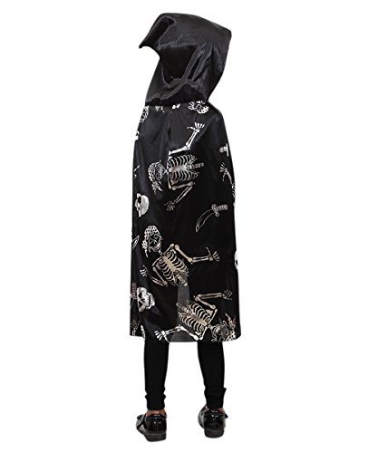 De16 Skelett Piraten Umhang in silber schwarz - -
