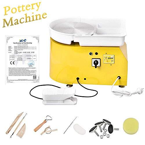 S SMAUTOP Pottery Wheel 25CM Pottery Forming Machine 350W Pottery Wheel Elettrico con Pedale e Bacino Staccabile Facile Pulizia per Ceramica Artigianato d'Arte in Ceramica (Certificazione CE)