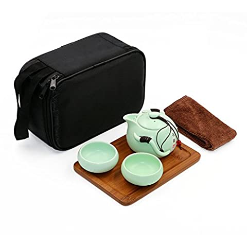 Portable Travel Kungfu Tea Set, Chinese/ Japanese Style, Handmade Ceramic Teapot & 2 Teacups & Bamboo Teatray & Pouch ( Green)