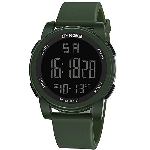Tsutou Shi Nuo Ke Wasserdichte Sportuhr Männer Outdoor-elektronische Uhr leuchtende multifunktionale Student männliche Uhr 9002 (Color : Green)