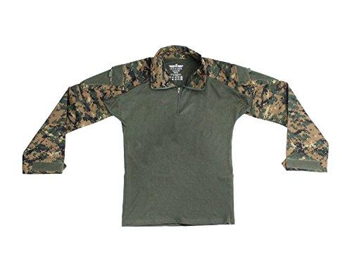 Invader Gear Combat Shirt, mit Oberarmtaschen, hoher Tragecomfort - digital Woodland XL - Digital Woodland Bdu Shirt