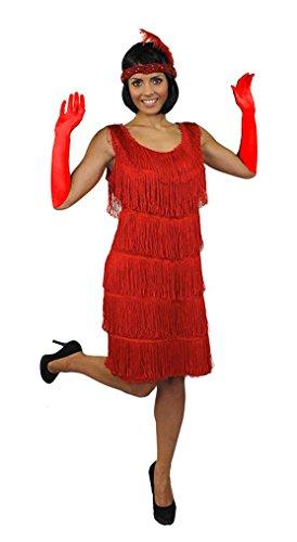 ILOVEFANCYDRESS Charleston FRANSEN Flapper KOSTÜM VERKLEIDUNG Kleid Damen Fasching Karneval=ROTES Kleid - XXLarge+ ROTEN - Boogie Woogie Tanz Kostüm