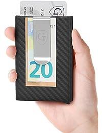 GenTo® Kartenetui mit Geldklammer Tokyo - RFID & NFC Schutz - Super Slim Carbon Look Wallet Männer | Design Germany