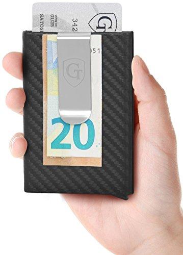 GenTo® Kartenetui mit Geldklammer Tokyo - RFID & NFC Schutz - Super Slim Carbon Look Wallet Männer   Design Germany