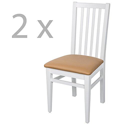 Schwarzwald Massivholz Esszimmerstuhl ST07 Abraham mit Sitzpolster belastbar bis 130 kg Gastronomie Qualität in Weiss, Nussbaum oder Buche (Weiss Cafe, 2 Stühle)