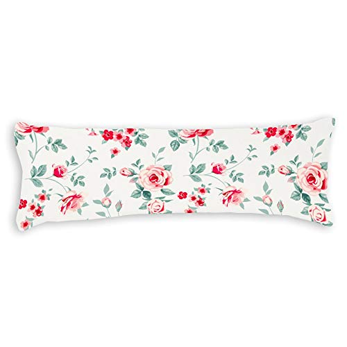 Fhdang Decor Rosen Körper-Kissenbezug, weiche Baumwolle, maschinenwaschbar mit Reißverschlüssen für Schwangerschaft/Schwangerschaft - Single 3ft (36'') -