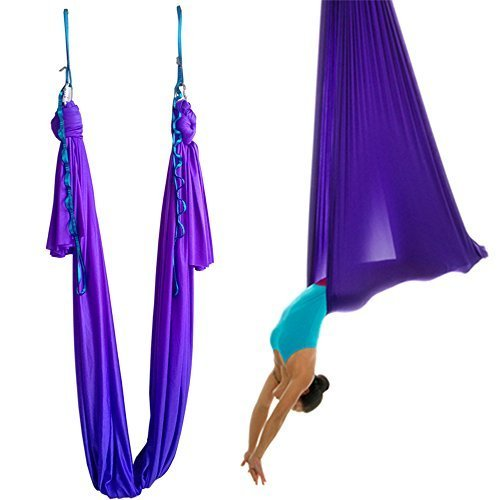 Wellsem (5m / set) elastica pilates yoga yoga swing aerea amaca con moschettone e margherita catena (viola scuro)