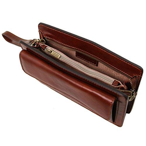 Tuscany Leather Denis - Esclusivo borsello a mano in pelle Nero Borse uomo in pelle Miele