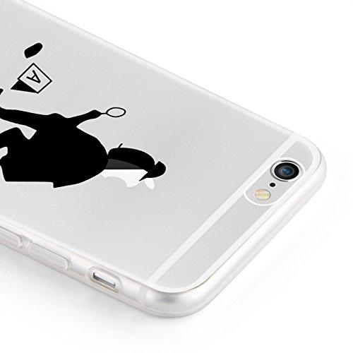 "iPhone 6 Hülle, JAMMYLIZARD Transparentes Sketch Back Cover aus Silikon mit Muster für iPhone 6 / 6s 4.7"", SILHOUETTE 1 Apfelkopfkommissar"
