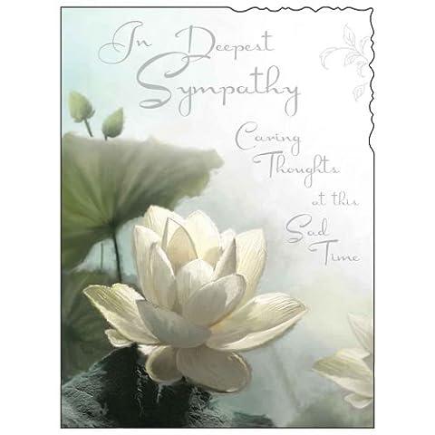 Carte de Condoléances (jj4420) Caring Thoughts–Water Lily–Argent en