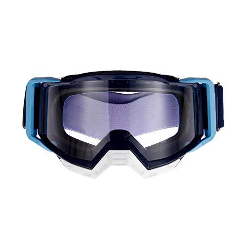 Retrobrille Motorrad Schutzbrille Crossbrille Wind Staubschutz Sportbrille Motorrad Goggles f¨¹r Outdoor Aktivit?Ten mit blauem Rahmen und transparenter Linse