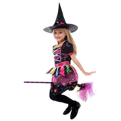 QINGQING Kinder Baby Mädchen Hexe Dress up Halloween Kinder Durchführung Kleidung Kostüm Kleid Party Kleider + Hexenhut Kinder Mädchen Halloween Kleidung Kostüm (Size : XL(10-12years))