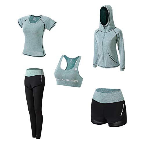Yoga Kleidung Anzug 5er-Set Trainingsanzug Laufbekleidung Gym Fitness Kleidung (Grün, S)