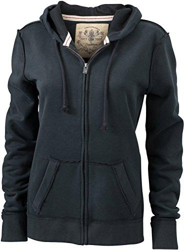 JN942 Ladies´ Vintage Hoody Jacke Sweatjacke Sweatshirt Kapuze, Größe:M;Farbe:Black (Vintage-pullover Gefütterte)