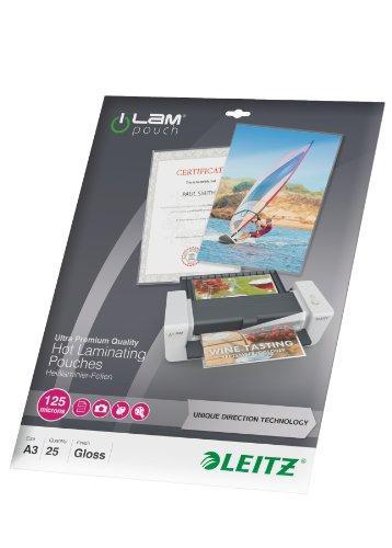 Preisvergleich Produktbild Leitz Ilam (UDT 25pièce Kunststoff Cover–Transparent Kunststoff Beutel ((S), Ethylen Vinyl Acetat (EVA); Polyethylenterephthalat (Pet), glänzend, A3, 468mm, 344mm)