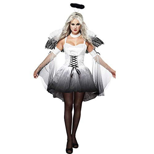 0-0 Cosplay Abendkleid-Halloween-Karneval-Kostüm-Party Horror Erwachsene Weißer Engel Hexe (Dunkle Hexe Übergröße Kostüm)