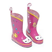Kidorable Original Branded Cat Pink Rubber Rain Boots Wellies for Little Girls Children Toddlers Infants (13 UK)