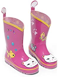 Kidorable Original Branded Cat Pink Rubber Rain Boots, Wellies for Little Girls, Boys, Children, Toddlers