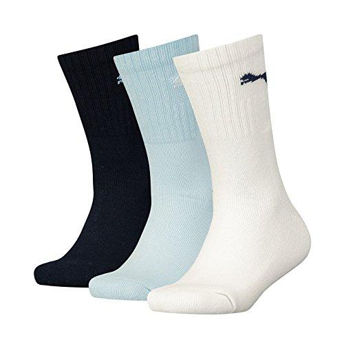 PUMA Kinder Sport Junior 3P Socken, d.Blue/l.Blue/White, 35-38 (Kinder-logo-socken)
