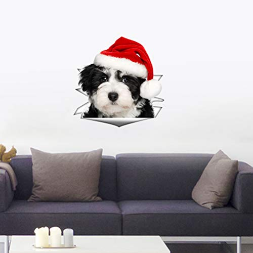 BESTOYARD 3pcs WC Toilettendeckel Aufkleber 3D Hunde Aufkleber Weihnachten Wandtattoo Fensteraufkleber