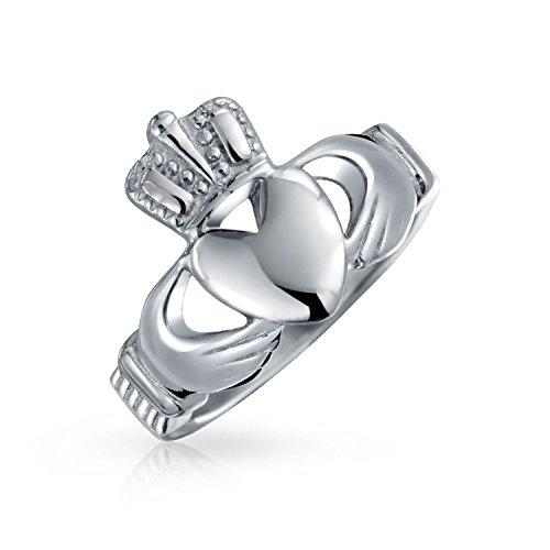Bling Jewelry Unisex Edelstahl Irisch keltische Claddagh Herz Ring (Irische Claddagh Ringe)