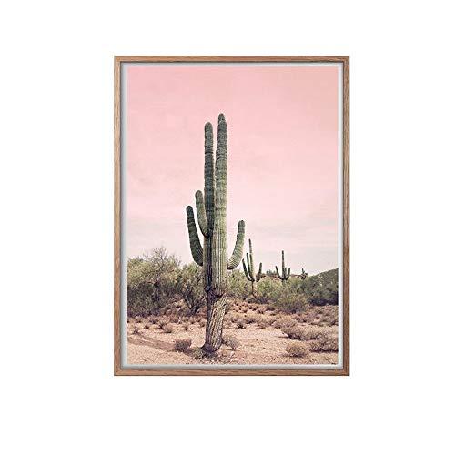 ��Wunderschöne Landschaft, Rosa Himmel, Grüne Pflanze Kaktus Dekor Leinwand Gemälde Kunstdruck Poster Bild Wand Schlafzimmer Wohnzimmer Dekoration Malerei Wandbild(1), 70 * 100 ()